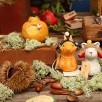 キノコ動物と秋のフルーツ(針山)